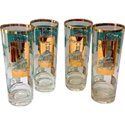 Libbey Southern Comfort Set of Four 22K Gold and Aqua Riverboat Collins Glasses circa 1968