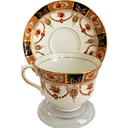Colclough Bone China 6611 Cobalt Blue and Red Floral Imari Style Teacup and Saucer