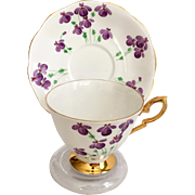 Royal Standard England Bone China Number 1031 Hand Painted Violets Teacup and Saucer