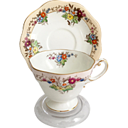 Foley Bone China England 1526 Floral Teacup and Saucer