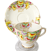Royal Mayfair Bone China England Number 247 Enameled Flowers Teacup and Saucer
