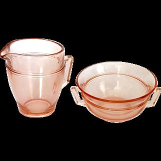 Fostoria Priscilla Elegant Glass Pink Cream and Sugar Depression Era