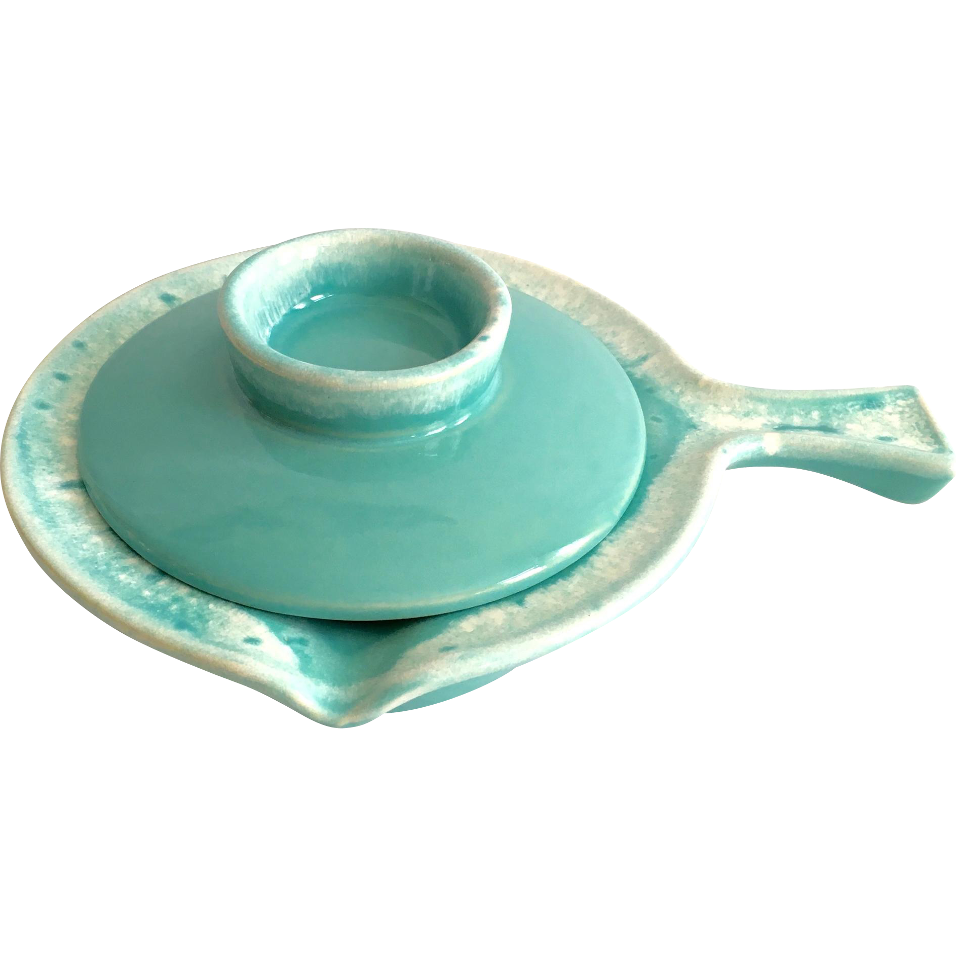 Hull Crestone Turquoise French Casserole With Cover