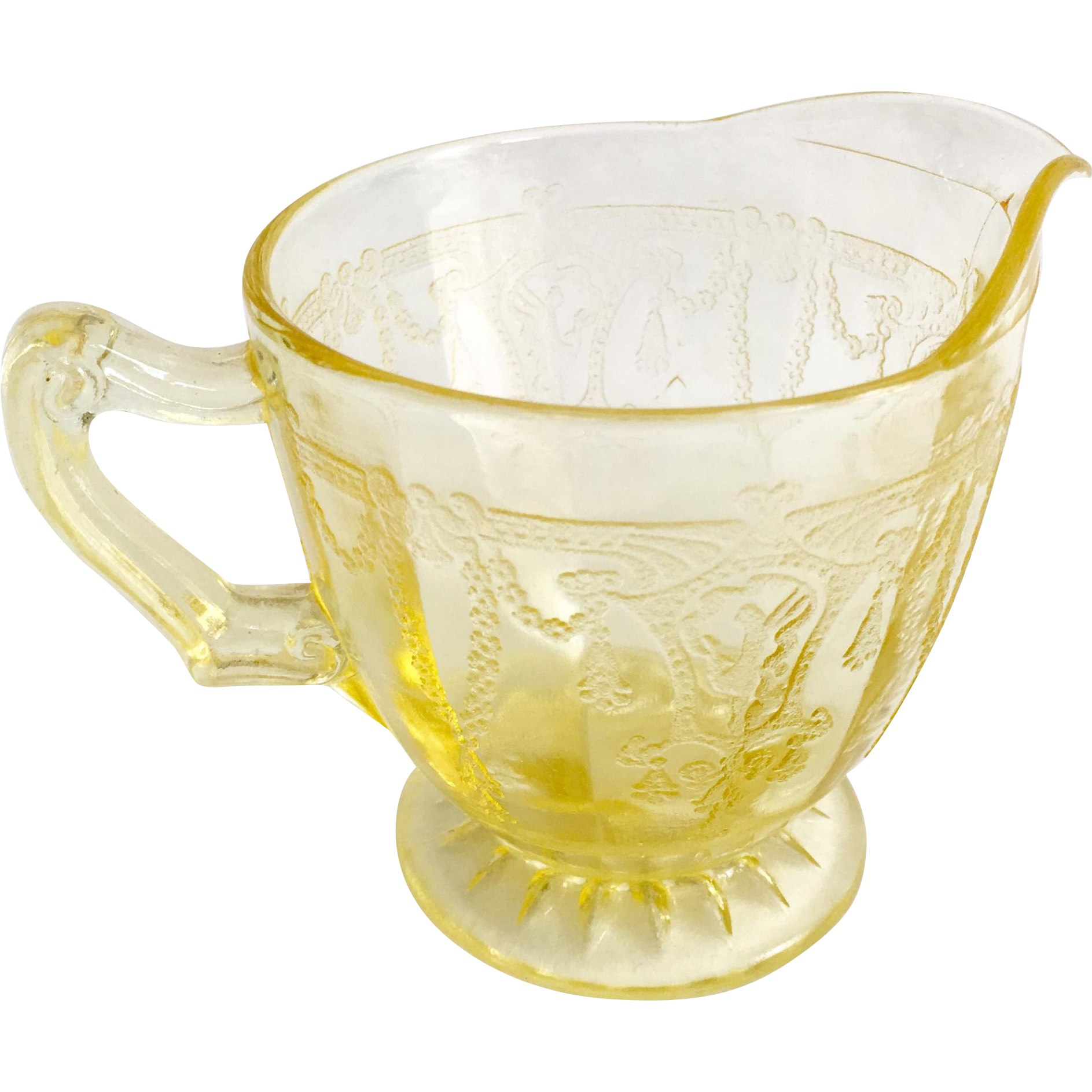Hocking Cameo Ballerina Yellow Depression Glass Creamer