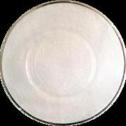 MacBeth-Evans S Pattern Stippled Rose Band Depression Glass Platinum Rim Luncheon Plate