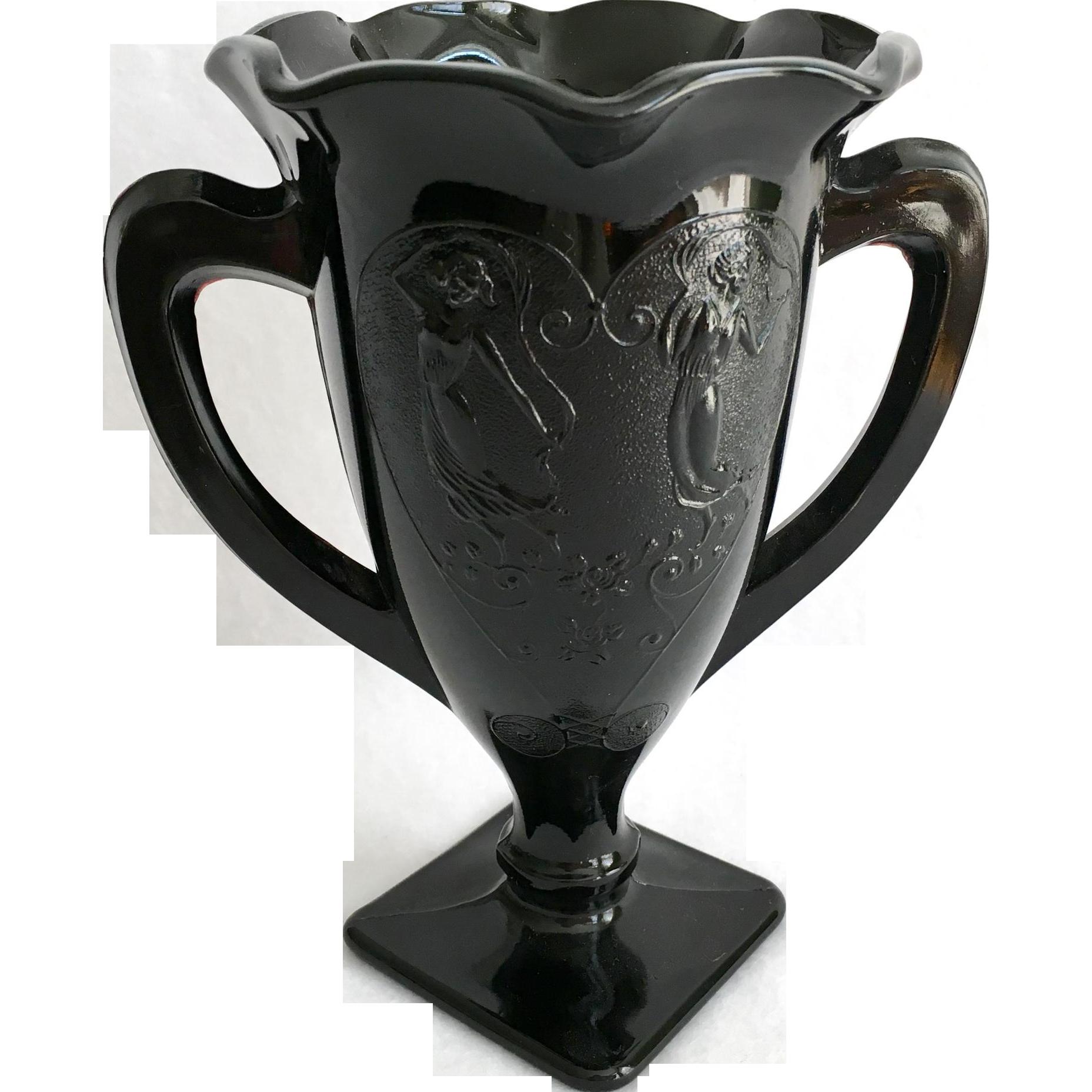 LE Smith Black Depression Glass Dancing Ladies Loving Cup Vase Number 433