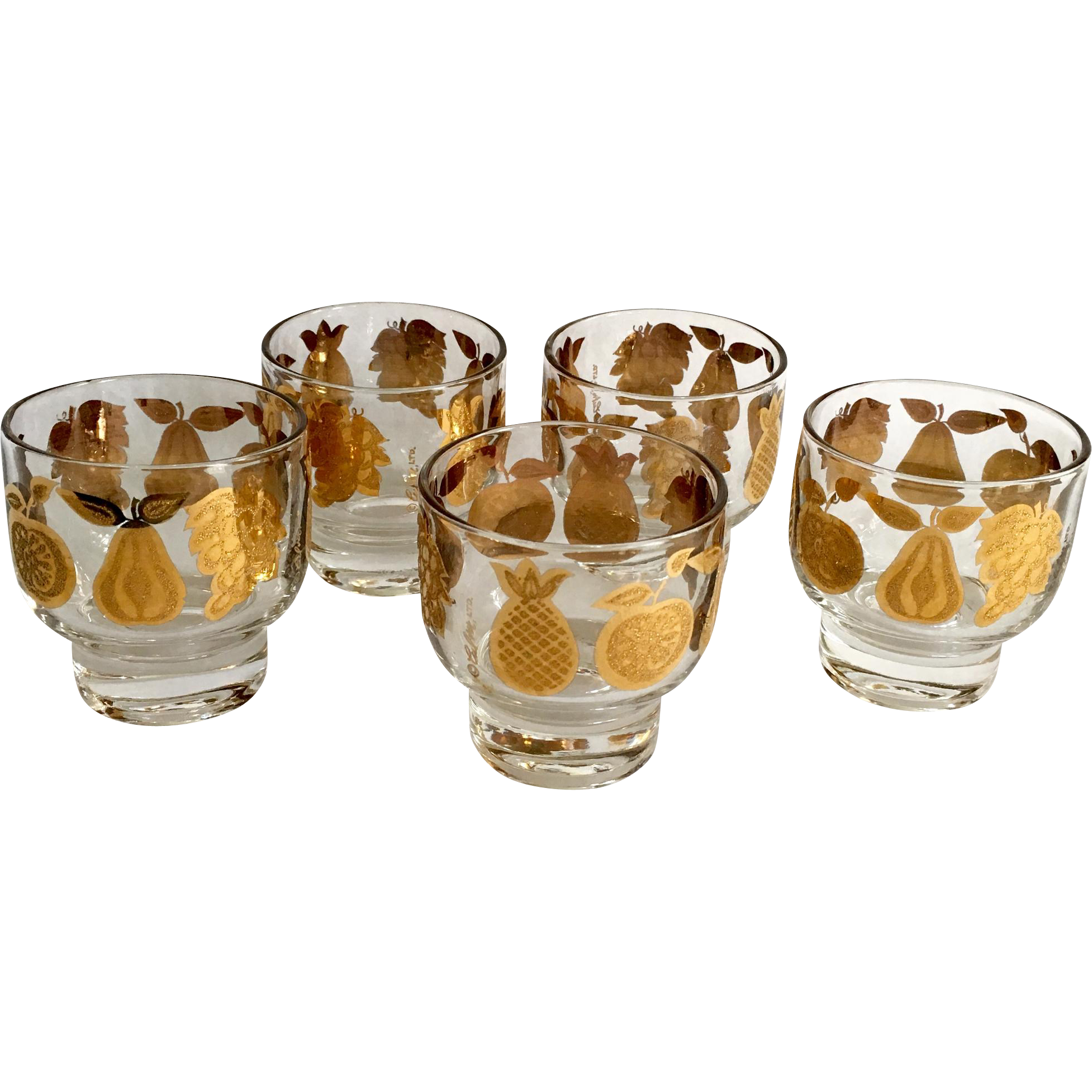 Culver Glass 22 Karat Gold Florentine Mid Century Stacking Footed Cocktail Tumblers Set of Five