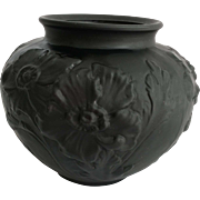 Tiffin Poppy 1930s Black Amethyst Satin Glass Vase