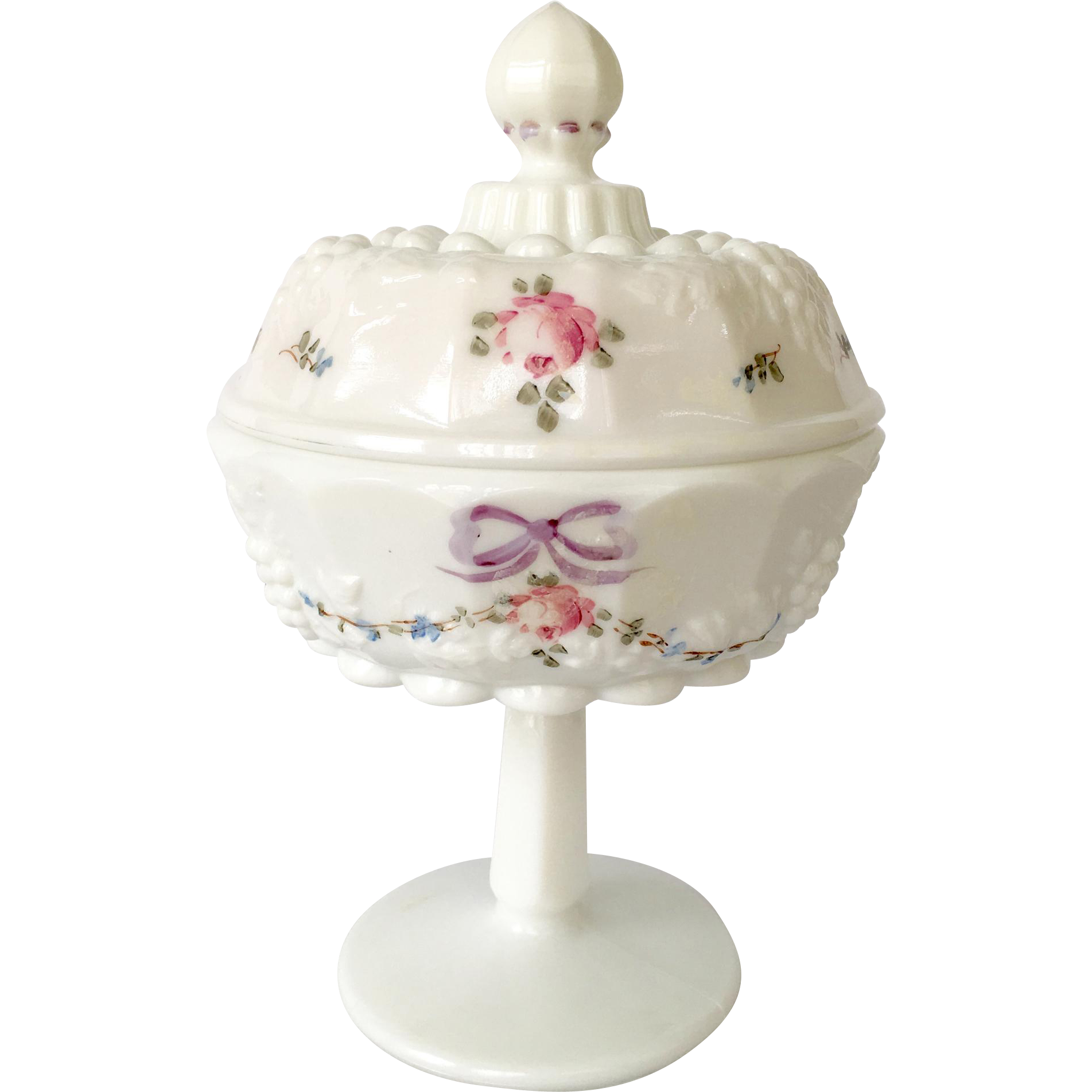 Westmoreland Milk Glass Roses and Bows Covered Pedestal Compote