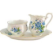 Royal Albert Bone China Forget-Me-Not Mini Creamer and Open Sugar with Tray Hampton Shape