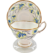 Royal Albert Bone China Heather Bell Blue Teacup and Saucer Malvern Shape
