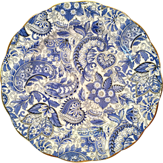 Royal Standard Bone China #1445 Blue Paisley Chintz Luncheon Plate