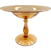 Fostoria 1920s Royal Etch Elegant Glass Amber Compote on Twisted Stem Blank 2327