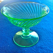 Imperial Twisted Optic 313 Depression Glass Green Sherbets - Set of Six!