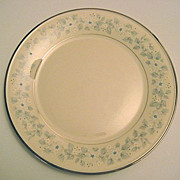 Lenox Windsong Blue Flowered Dinner Plate Platinum Trim