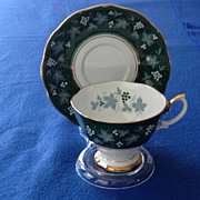 Royal Albert Château Series Lyons Green Cup and Saucer