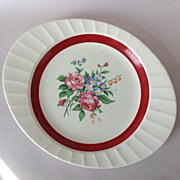 Cronin Oblong Platter Deep Red Band Rose Bouquet Center Fluted Edge Circa 1940s
