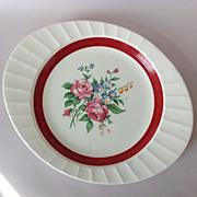 Cronin Oblong Platter Deep Red Band Rose Bouquet Center Fluted Edge Circa 1940s
