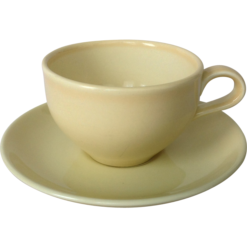 Russell Wright Iroquois Casual Mid Century Yellow Cup and Saucer