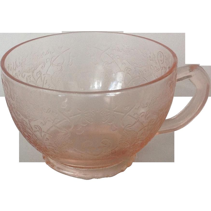 Florentine No. 1 'Poppy' Pink  Depression Glass Cup