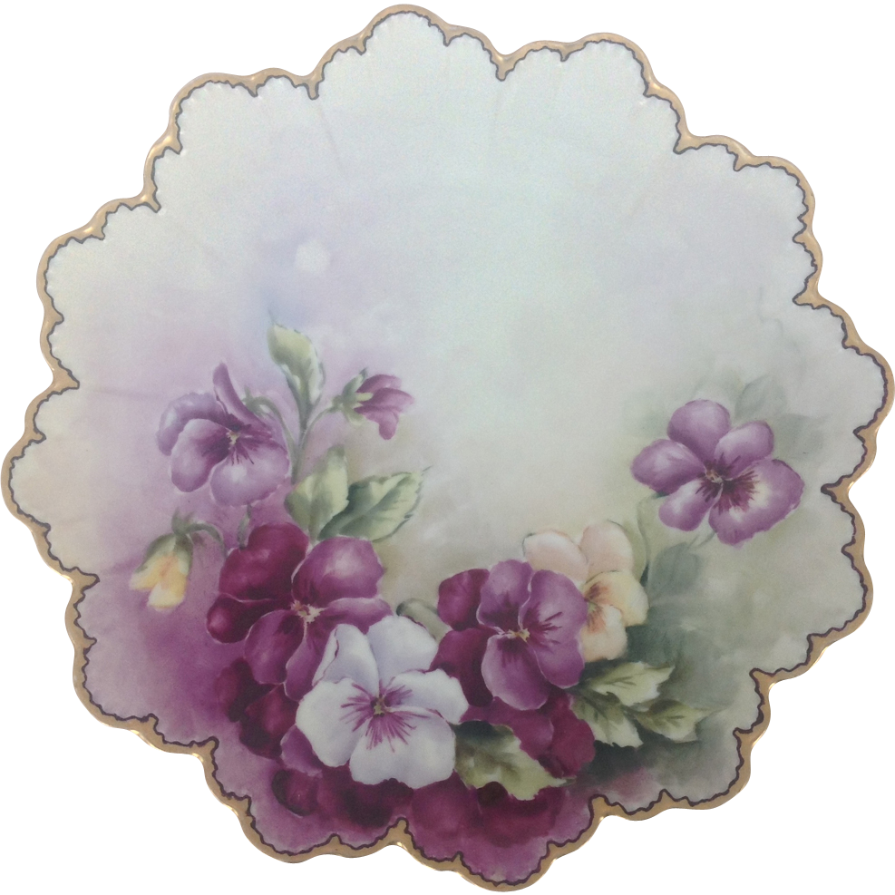 Rosenthal RC Malmaison Bavaria Hand Painted Pansies Scalloped Plate