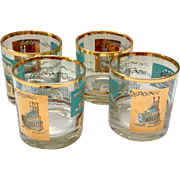 Libbey Southern Comfort Set of Four 22K Gold and Aqua Riverboat Rocks Glasses circa 1968