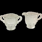 Fostoria Elegant Glass Chintz Etched Baroque Crystal Footed Cream and Sugar