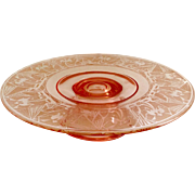 Lotus La Furiste 0907 Rose Pink 22 Karat Gold Depression Glass Cake Plate