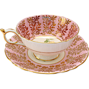 Paragon Bone China A2999/4L Yellow Rose Pink Border Gold Overlay Teacup and Saucer