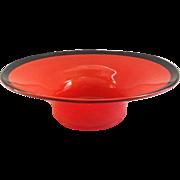 Art Deco Style Glass Orange Serving Bowl with Black Rim
