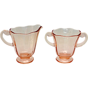 Fostoria Glass Lafayette Rose Pink Depression Era Creamer and Sugar