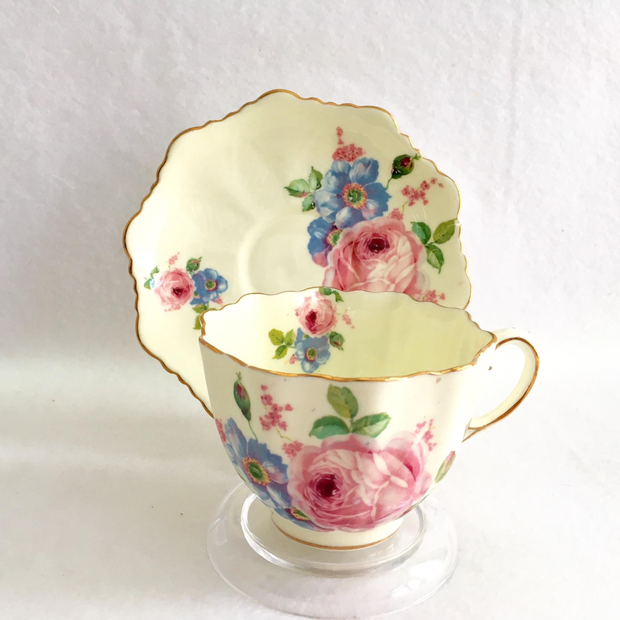 Paragon Bone China S6507 Yellow with Pink Rose Motif Teacup and Saucer