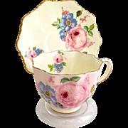 Paragon Bone China S6507 Yellow with Pink Rose Motif Teacup and Saucer