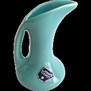 Camark Pottery Arkansas Aqua Ewer Vase with Foil Label
