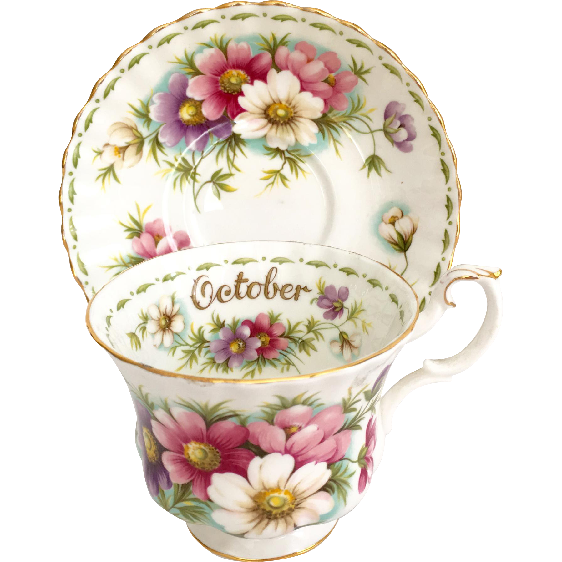 Royal Albert October Flower of the Month Cosmos Cup and Saucer