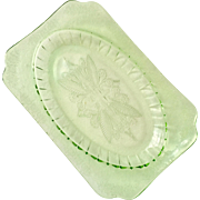 Adam Green Depression Glass Platter by Jeannette Glass