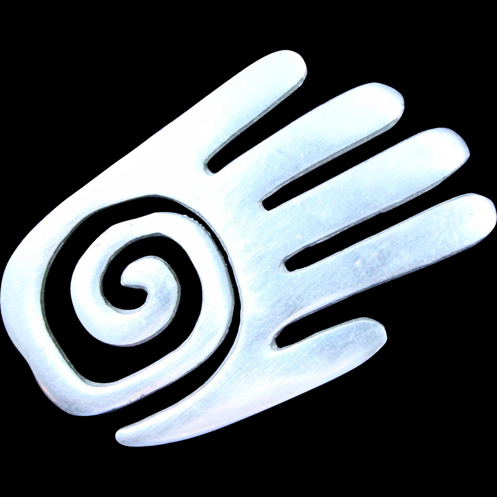 Modernist Aluminum High Five Pin/Brooch Open Hand with Spiral