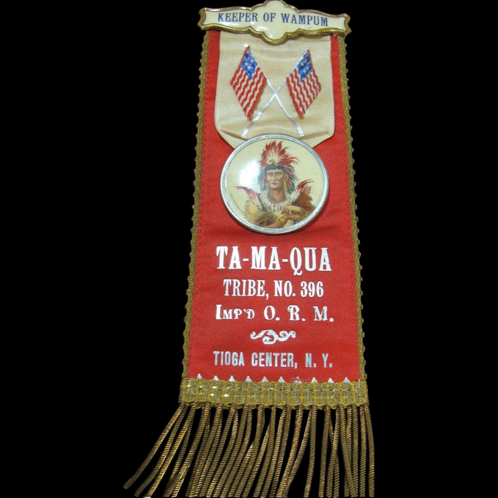 Order of Red Man Wampum Ta-Ma-Qua Badge