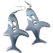 Modernist Vintage Aluminum Angry Shark Earrings