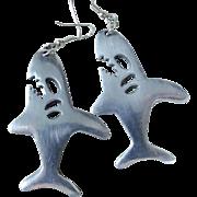 Modernist Vintage Aluminum Angry Shark Earrings