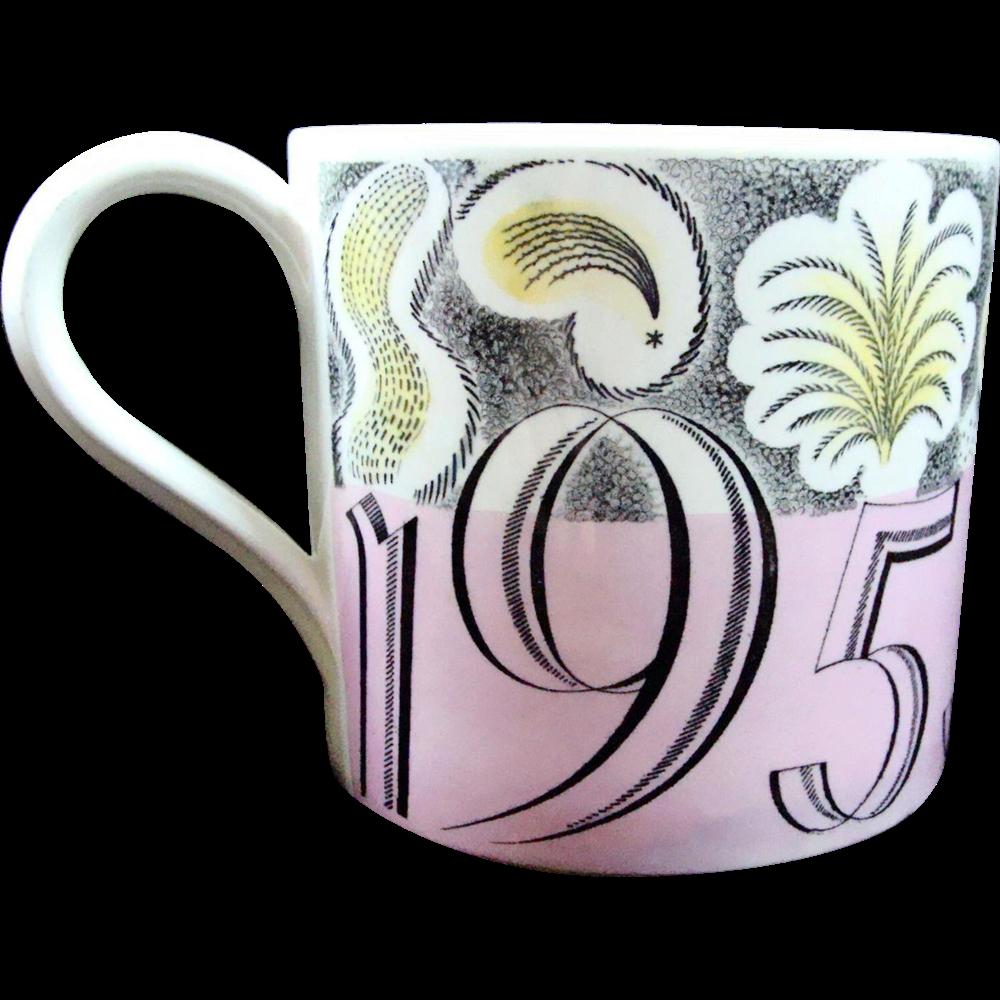 1953 Coronation Queen Elizabeth Designer Eric Ravilious Mug Cup 1953  British Royalty