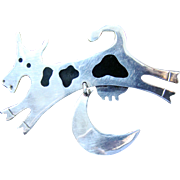 Sterling Pin Anne Harvey Cow Jumped Over Moon Brooch 925