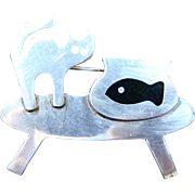 Anne Harvey 925 Brooch/Pin Cat and Goldfish
