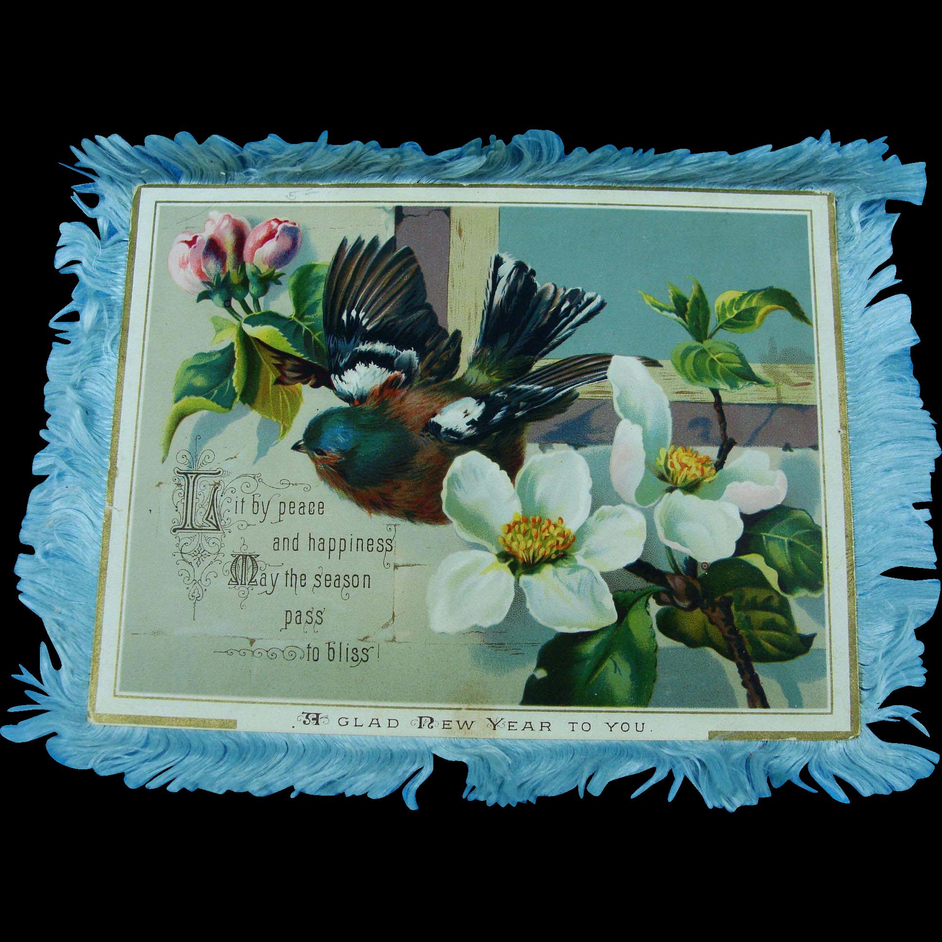 Glad New Year Silk Fringe Card 1885
