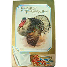 Clapsaddle My Fat Sparkly Thanksgiving Postcard Big Fat Turkey