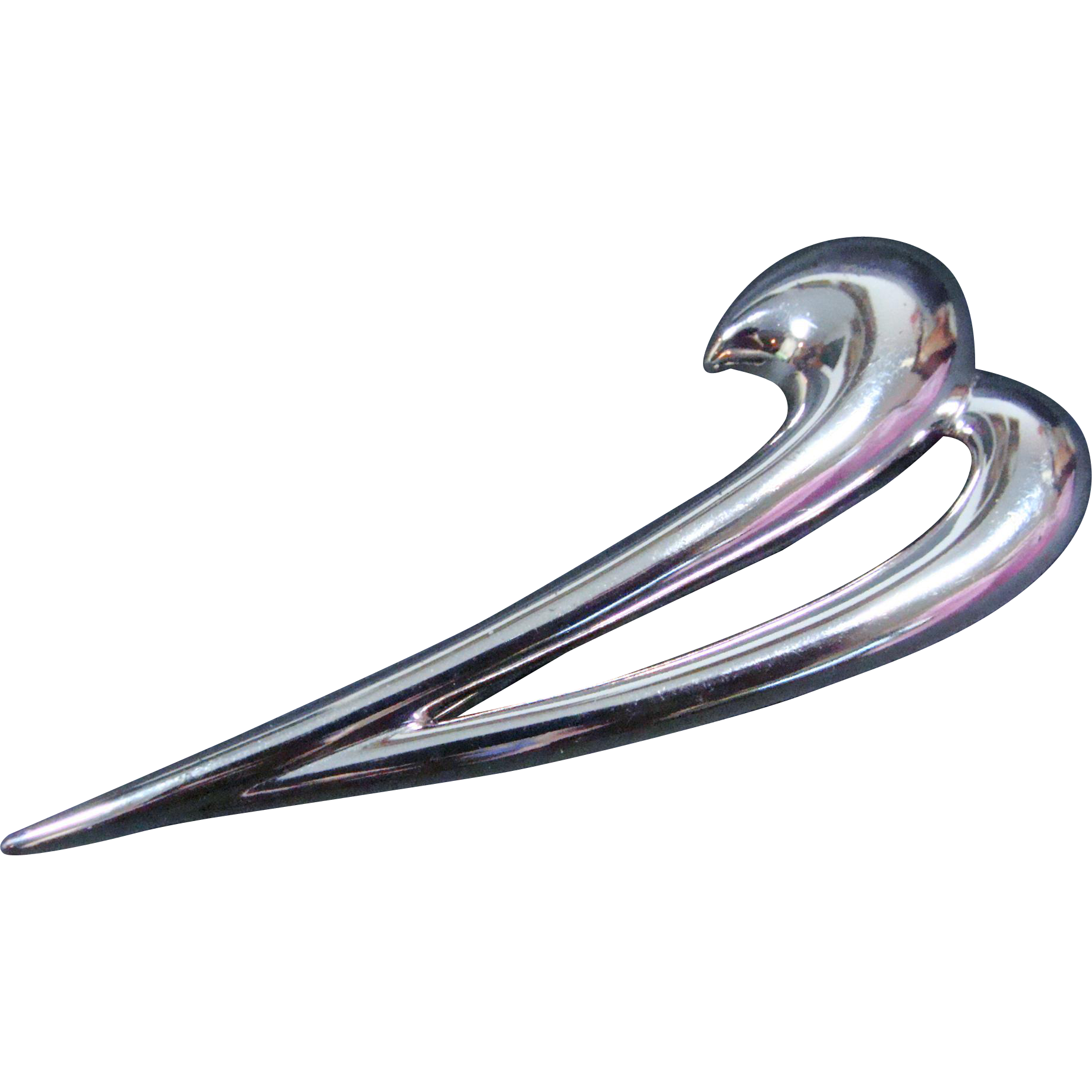 Monet Silver-Toned Swoosh Modernist Brooch/Pin