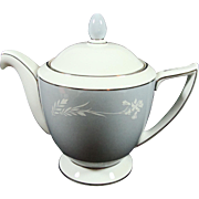 Minton Bone China Grey Cameo Tea Pot Silvery Trim Circa 1960's Never Used
