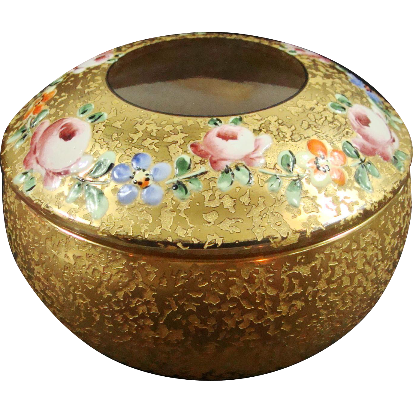 Dresser Box Glass, Gilt and Enameled 20th Century