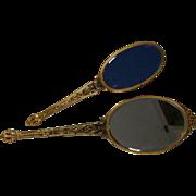 Vanity Deco Era Styling Blue Mirror Vanity Set Brush Hand Mirror