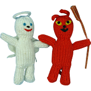 Hand Knit Ornaments Angel and Devil